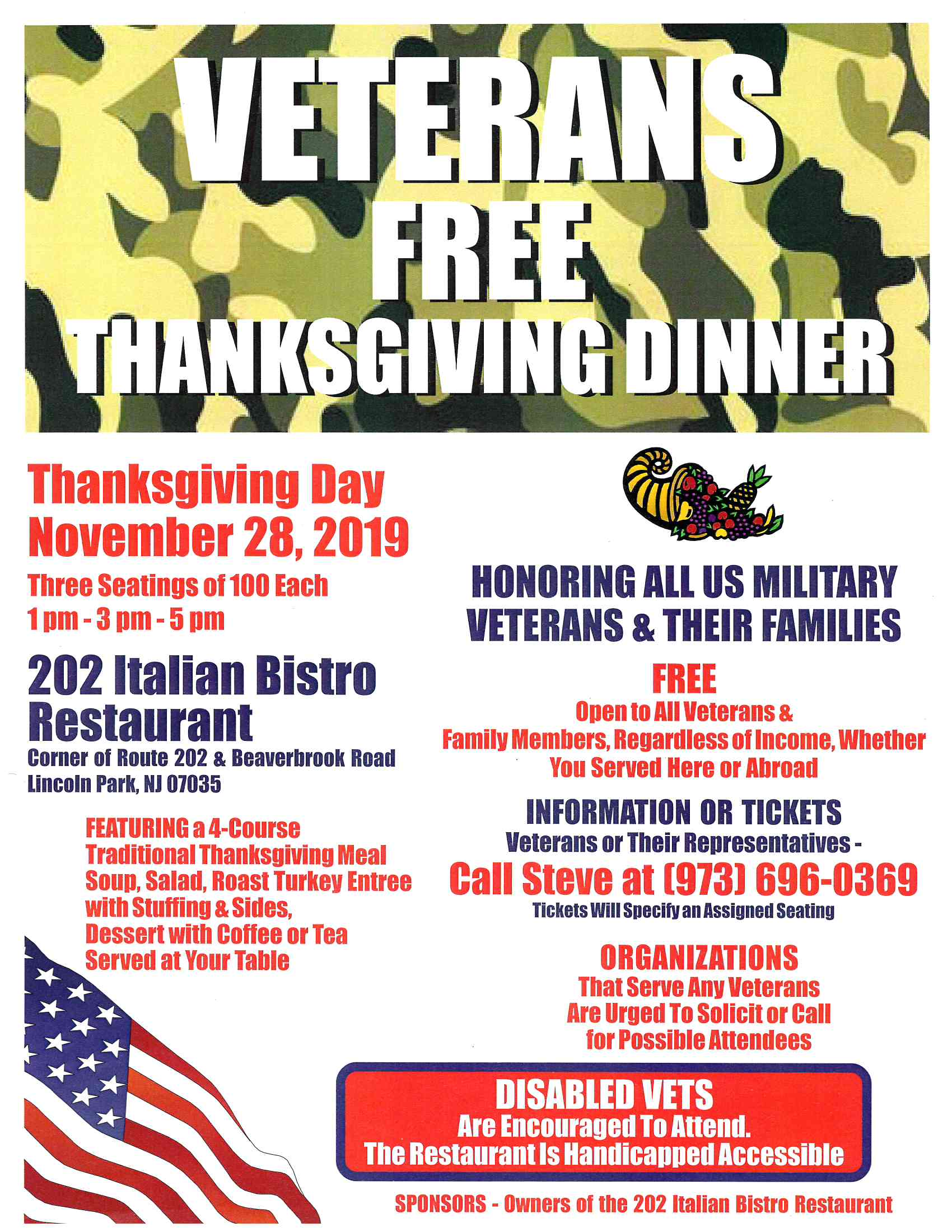 VETS THANKSGIVING DINNER