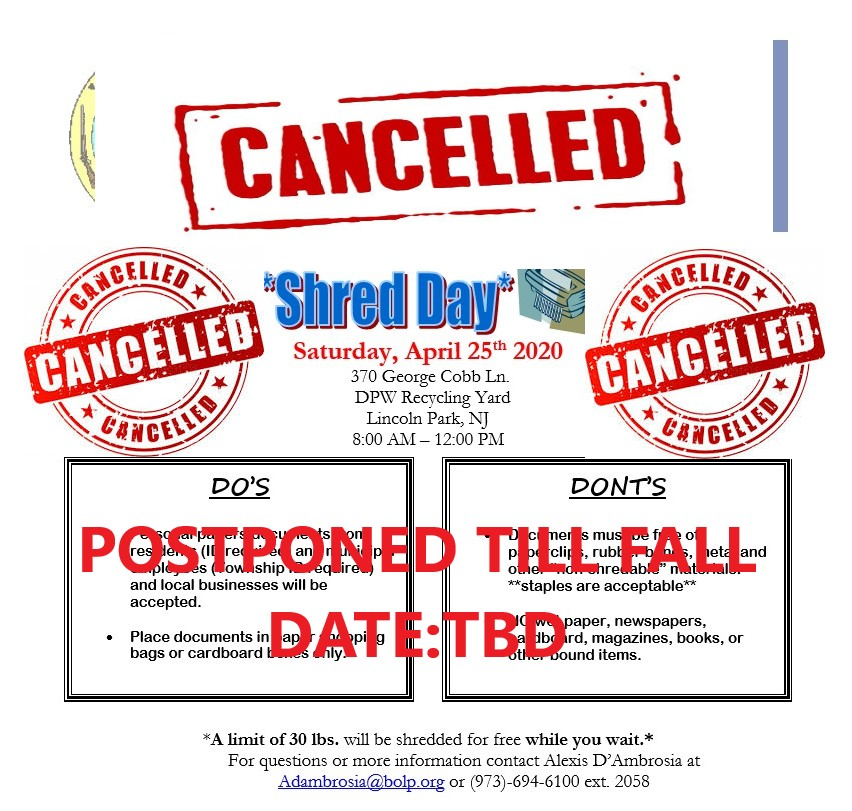shred it spring 2020- CANCELLATION