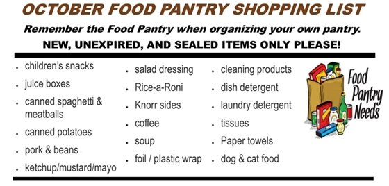 October Food Pantry List