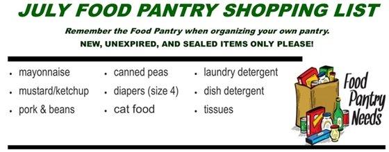 July Food Pantry List
