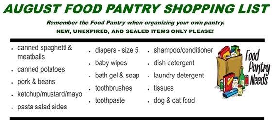 August Food Pantry List