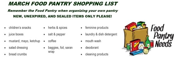 March food pantry needs