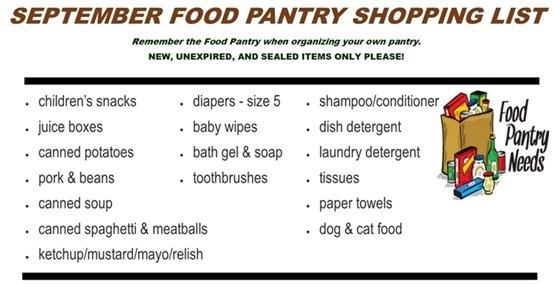 Sept Food Pantry Wish List