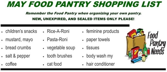 May Food Pantry Wish List
