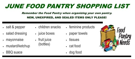 June Food Pantry List