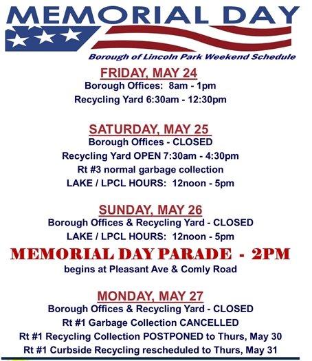 Memorial Day Weekend Schedule