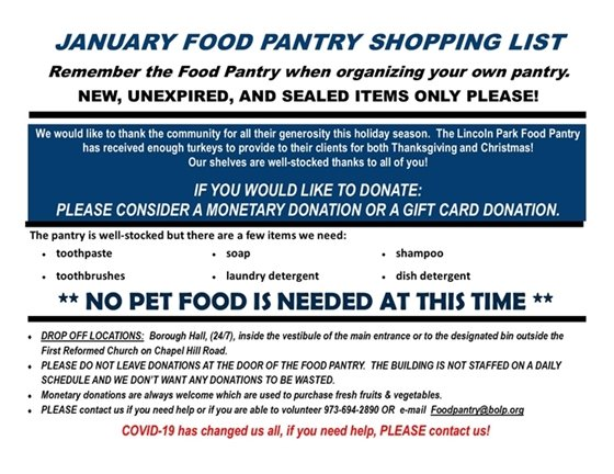 Food Pantry Wish List 2021