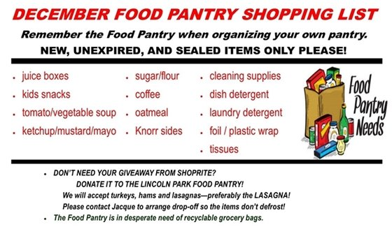 December Food Pantry Wish List