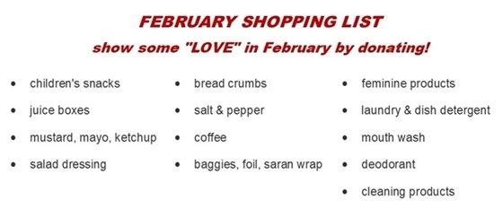 Feb Food Pantry List