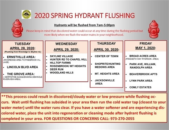 2020 Spring Hydrant Flushing Schedule