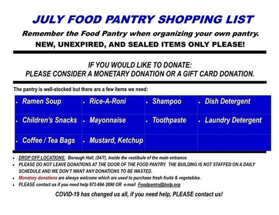 July Food Pantry