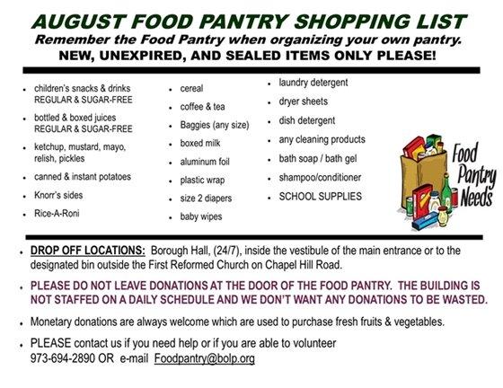 August Food Pantry Wish List