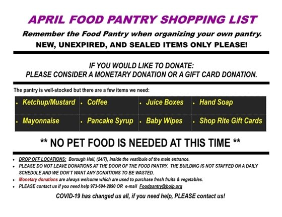 April Food Pantry Wish List