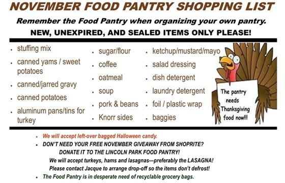 November Food Pantry Wish List
