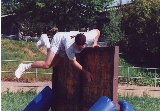 Applicant in Basic Training Jumping a Wall
