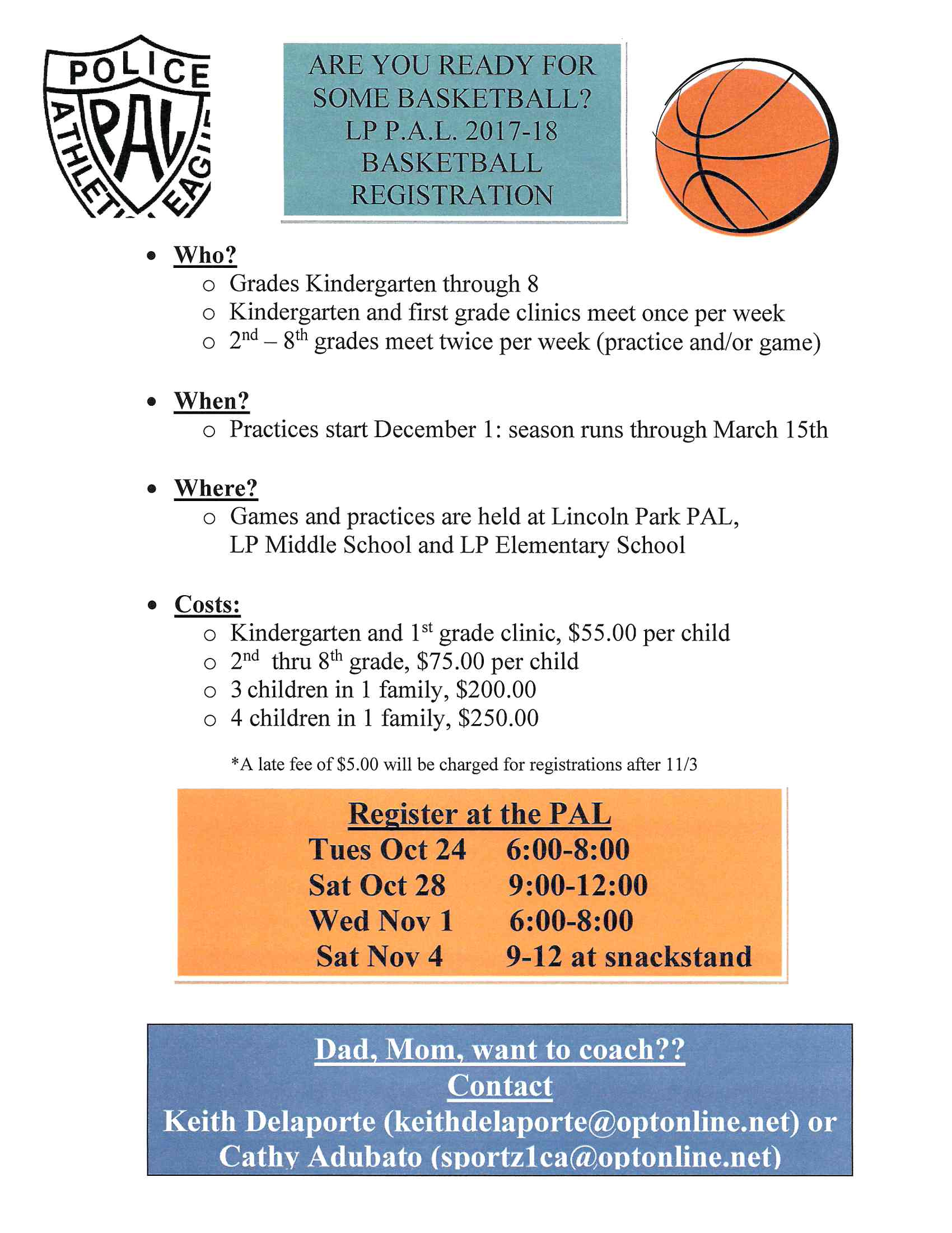 PAL Basketball | Lincoln Park, NJ - Official Website